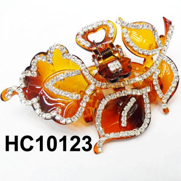 wholesale women colored crystal stone leaf design plastic hair claw clips 3