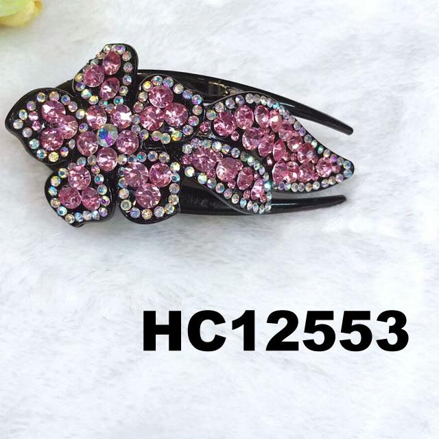 wholesale women colored crystal stone leaf design plastic hair claw clips 4