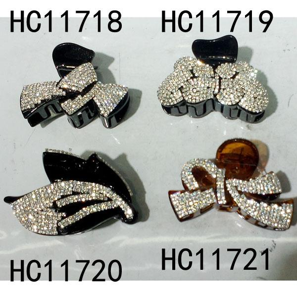 wholesale women colored crystal stone leaf design plastic hair claw clips 8