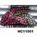 wholesale women colored crystal stone leaf design plastic hair claw clips