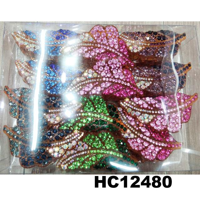 wholesale women colored crystal stone leaf design plastic hair claw clips 10