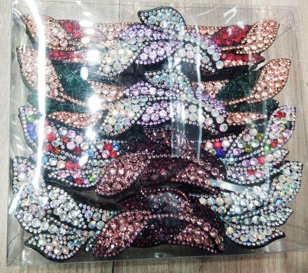 wholesale women colored crystal stone leaf design plastic hair claw clips 14
