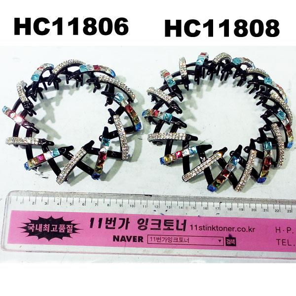 wholesale fashion colored crystal stone flower pumpkin round plastic hair clips 10