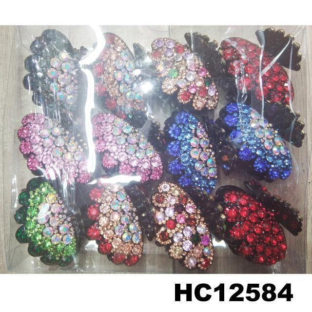fashion women colored crystal stone plastic hair claw clips wholesale 1