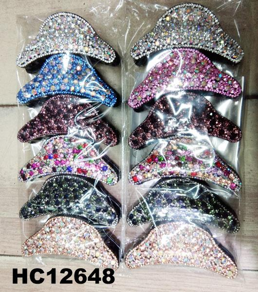 fashion women colored crystal stone plastic hair claw clips wholesale 3