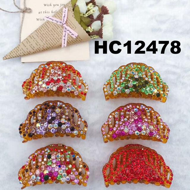 fashion women colored crystal stone plastic hair claw clips wholesale 13