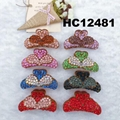 fashion women colored crystal stone plastic hair claws clips wholesale