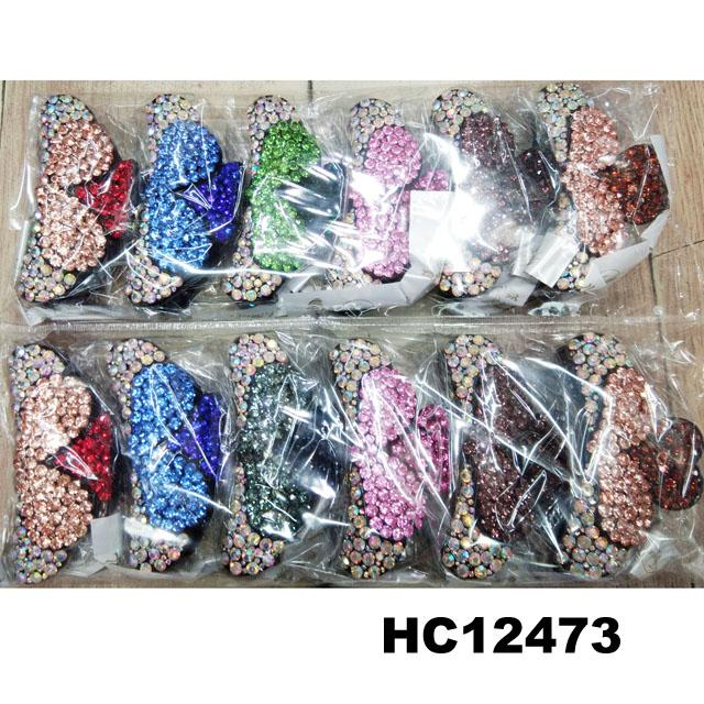 fashion women colored crystal stone plastic hair claws clips wholesale 2