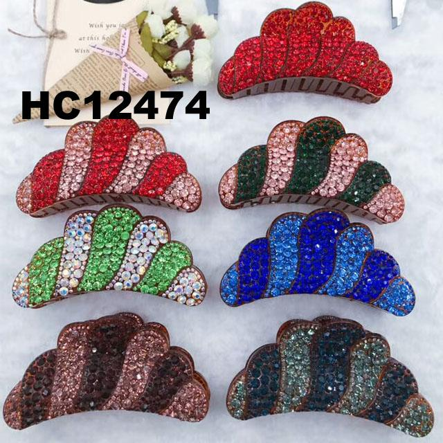 fashion women colored crystal stone plastic hair claws clips wholesale 6