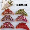 fashion women colored crystal stone plastic hair claws clips wholesale 8