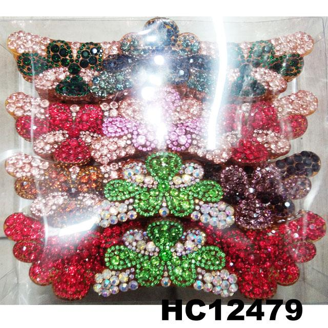 fashion women colored crystal stone plastic hair claws clips wholesale 9