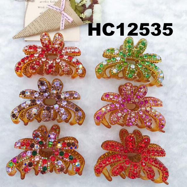 fashion women colored crystal stone plastic hair claws clips wholesale 12