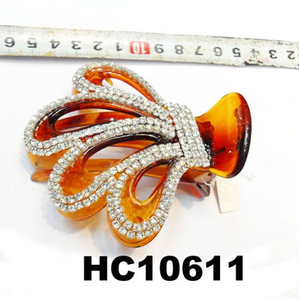 wholesale fancy women crystal stone side claw plastic hair clips 5