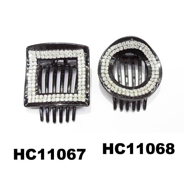 wholesale fancy women crystal stone side claw plastic hair clips 7