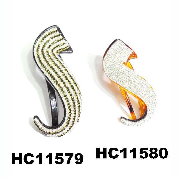 wholesale fancy women crystal stone side claw plastic hair clips 11