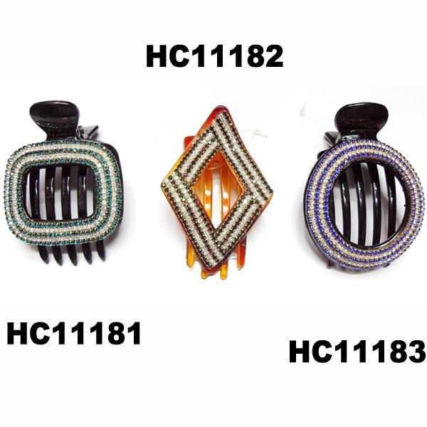 wholesale fancy women crystal stone side claw plastic hair clips 17