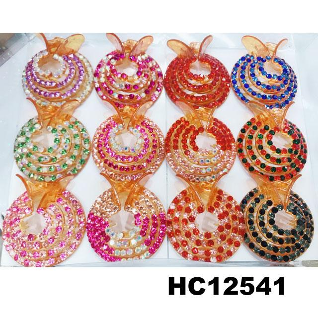 women crystal stone ponytail round plastic hair clips wholesale 3