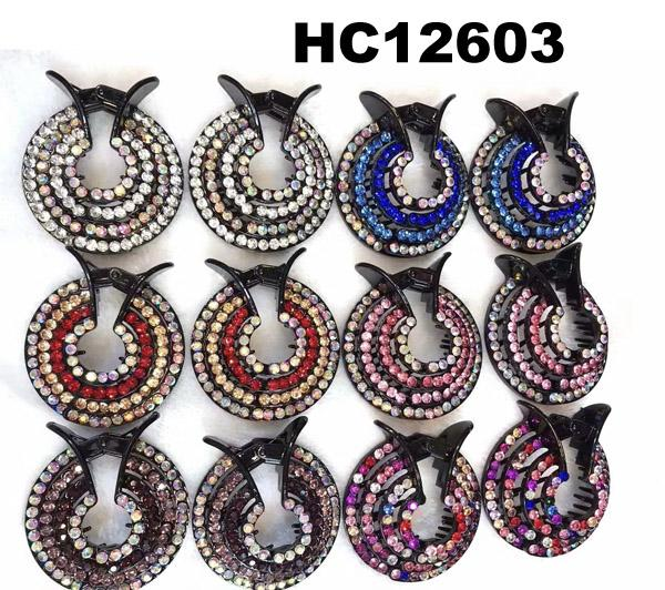 women crystal stone ponytail round plastic hair clips wholesale 1