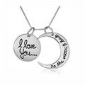 custom fashion I love you letters engraved metal pendant necklace