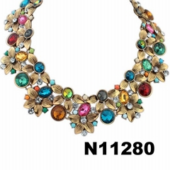 wholesale fashion women crystal stone flower choker statement necklace