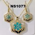 fashion women girls crystal gold plated enamel flower metal necklace set