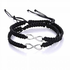 custom girls women mens leather rope knit braided bracelet