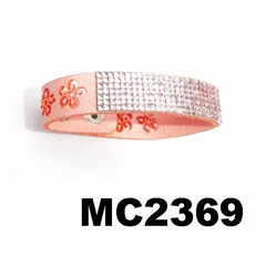 women ladies crystal flower engraved korea suede leather bracelet wholesale