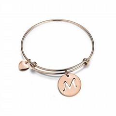 custom girls women engraved metal charm bracelet
