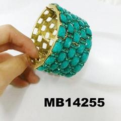 wholesale women ladies turquoise blue crystal stone wide bracelet bangle