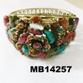 fashion women ladies crystal stone flower hinge bangle bracelet