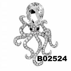 fashion men women crystal stone octopus brooch pin wholesale