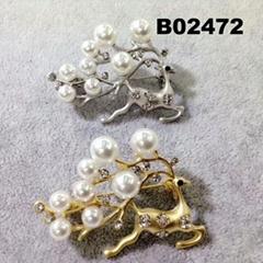 fancy crystal pearl christmas metal deer animal brooch wholesale