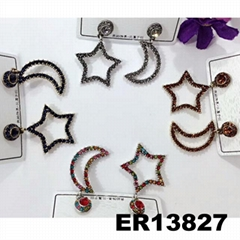 fashion women girls crystal moon star stud earrings wholesale