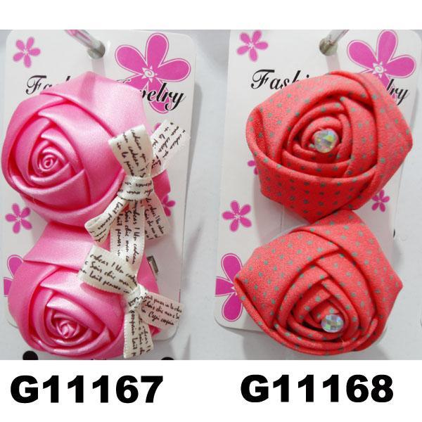 women girls kids satin rose flower hair clips wholesale 1
