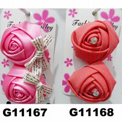 women girls kids satin rose flower hair clips wholesale