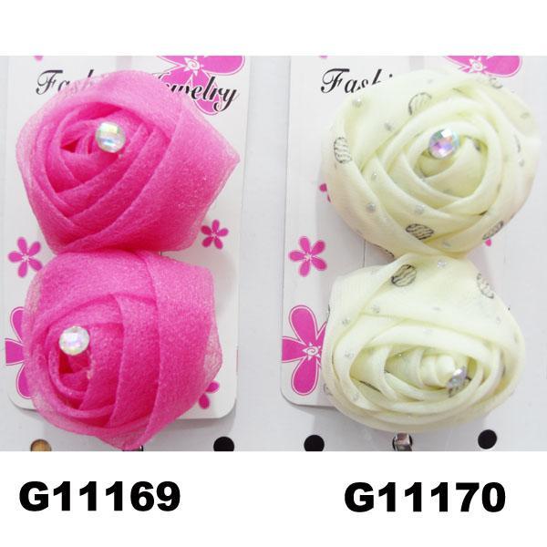 women girls kids satin rose flower hair clips wholesale 2