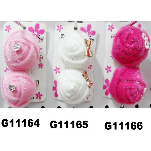 women girls kids satin rose flower hair clips wholesale 4