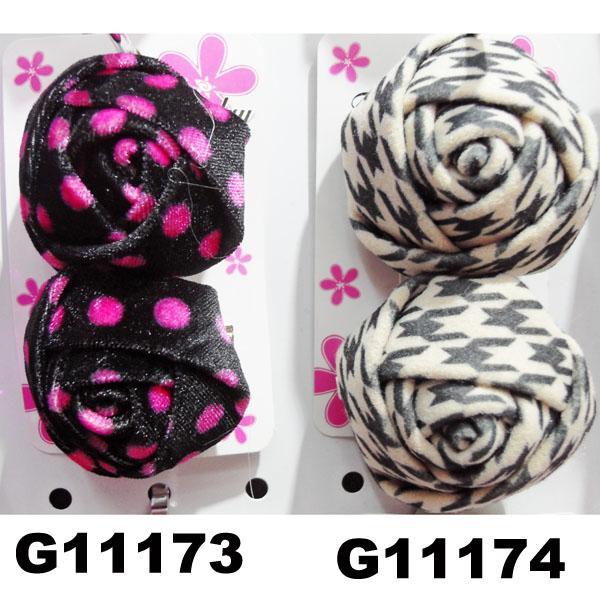 women girls kids satin rose flower hair clips wholesale 5
