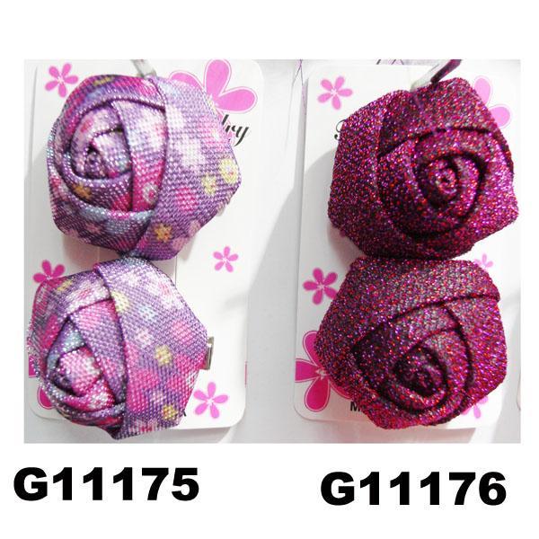 women girls kids satin rose flower hair clips wholesale 8
