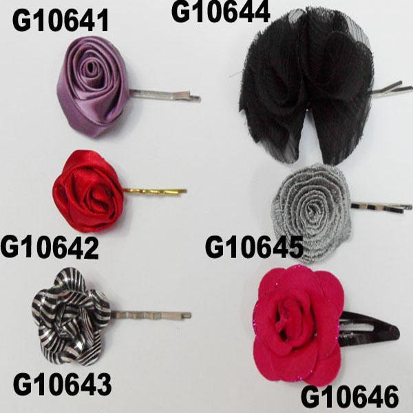 women girls kids satin rose flower hair clips wholesale 9