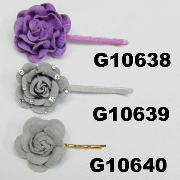 women girls kids satin rose flower hair clips wholesale 10
