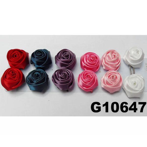 women girls kids satin rose flower hair clips wholesale 11