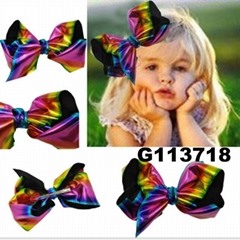 wholesale kids girls leather hair bow clips