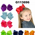 wholesale kids girls leather hair bow clips 5