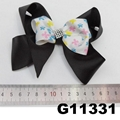 wholesale kids girls leather hair bow clips 8