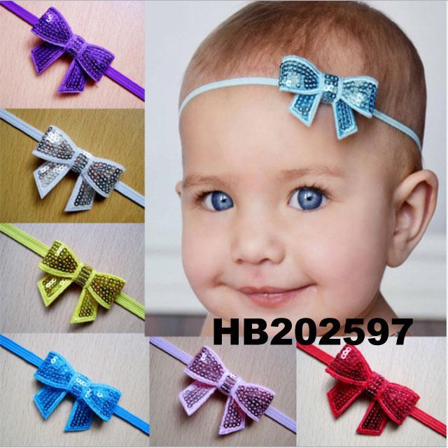 baby girl sequin butterfly elastic baby headband wholesale 1