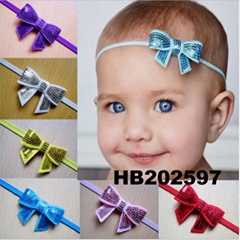 baby girl sequin butterfly elastic baby headband wholesale