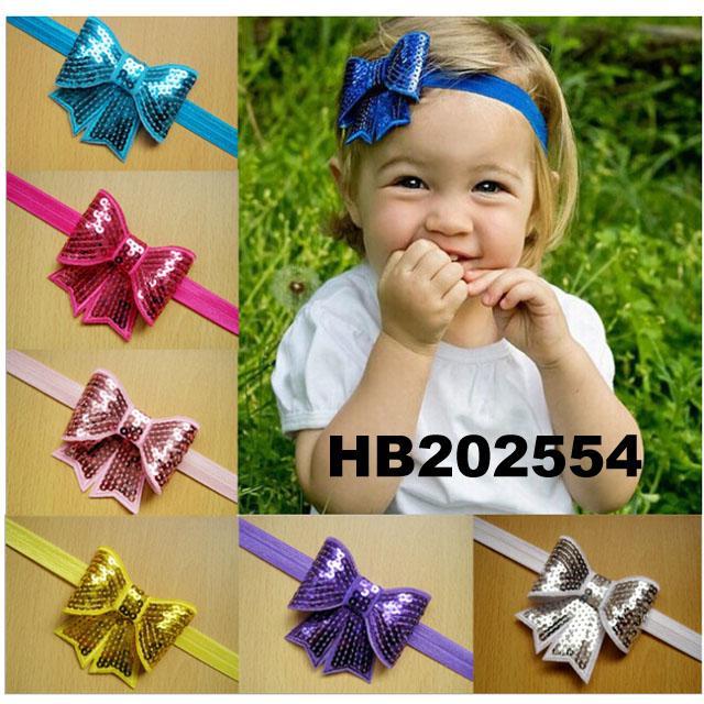 baby girl sequin butterfly elastic baby headband wholesale 3