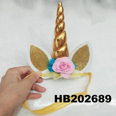 wholesale baby girls kids doll flower rabbit ear unicorn horn headband