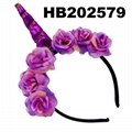 wholesale baby girls kids doll flower rabbit ear unicorn horn headband  5